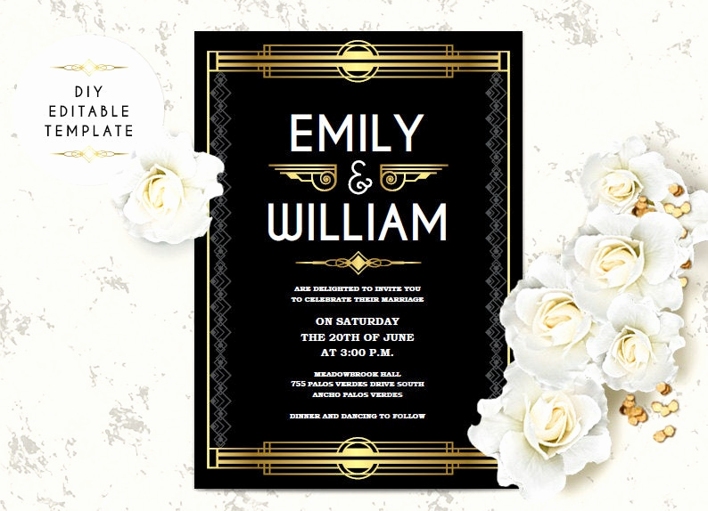 Great Gatsby Invitation Templates Beautiful Wedding Invitation Template Great Gatsby Wedding Invitation
