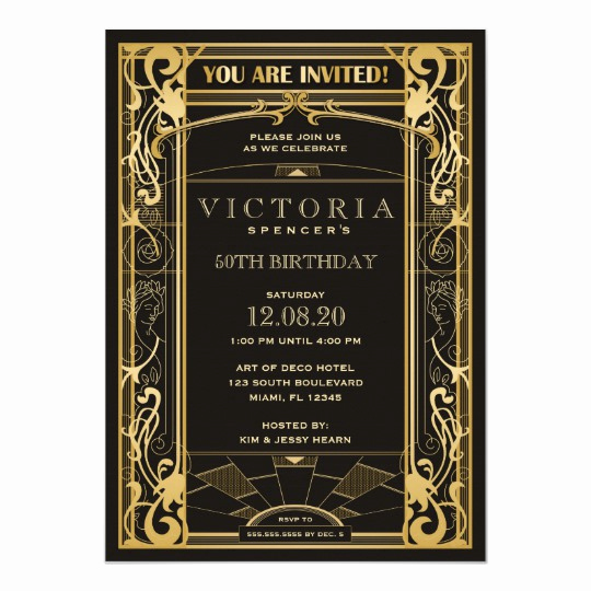 Great Gatsby Invitation Templates Elegant Vintage Art Deco Great Gatsby Birthday Invitation