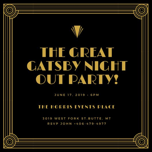 Great Gatsby Invitation Templates Fresh Vintage Invitation Templates Canva