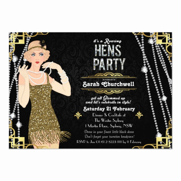 Great Gatsby Invitation Templates Lovely Personalized Great Gatsby Party Invitations