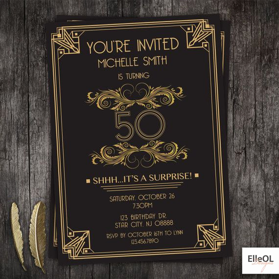 Great Gatsby Invitation Wording Awesome Great Gatsby Art Deco Birthday Invitation 21st 30th 40th