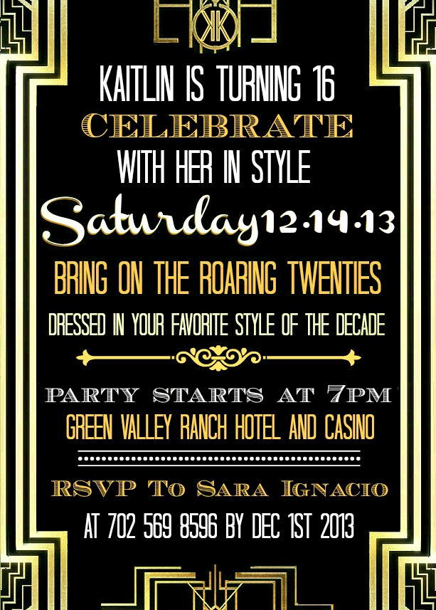 Great Gatsby Invitation Wording Beautiful 95 Best Kaitlin S Sweet 16 Gatsby Party Images On