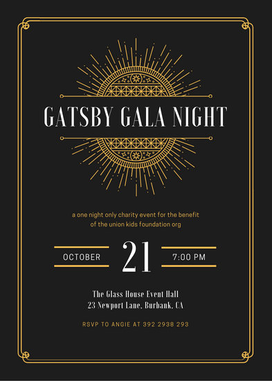 Great Gatsby Invitation Wording Beautiful Customize 64 Great Gatsby Invitation Templates Online Canva