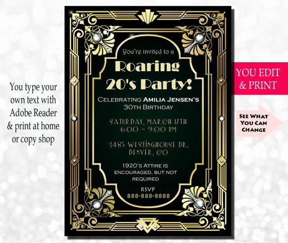 Great Gatsby Invitation Wording Elegant 30th Birthday Invitation Gatsby Invitation Gatsby Birthday