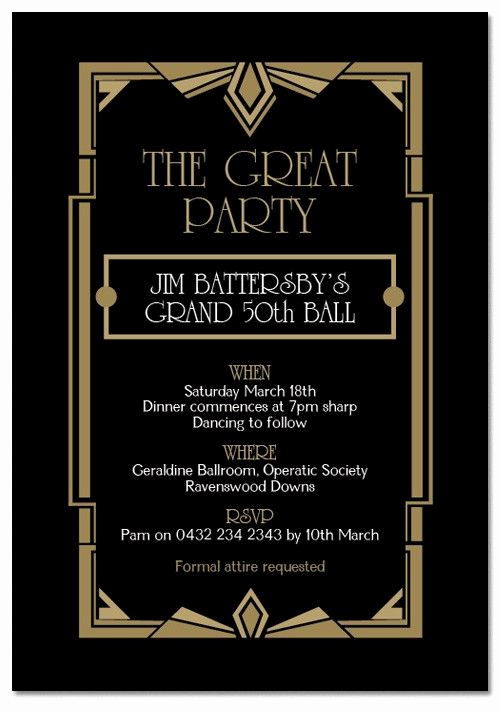 Great Gatsby Invitation Wording Elegant Gatsby Ball Birthday Invitations Invitations Adults
