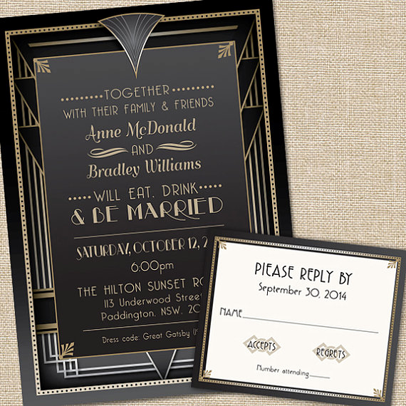 Great Gatsby Invitation Wording Elegant Great Gatsby Wedding Invitations with Rsvp Cards and