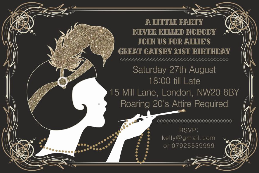 Great Gatsby Invitation Wording Fresh 10 X Great Gatsby Personalised Birthday Party Invitations