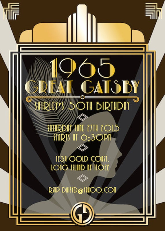 Great Gatsby Invitation Wording Fresh Great Gatsby Invitation Birthday Invitation Party Invite