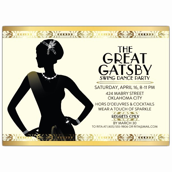 Great Gatsby Invitation Wording Luxury Gatsby Flapper Girl Party Invitations