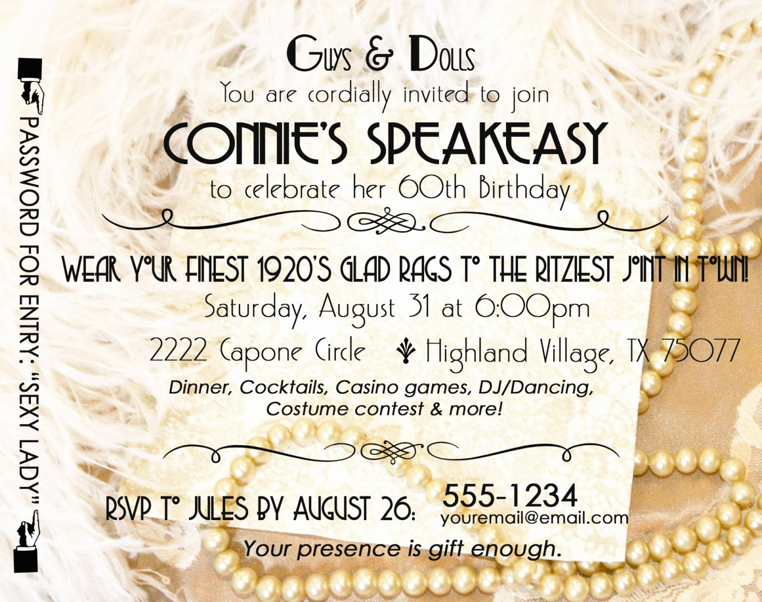Great Gatsby Invitation Wording Luxury Gatsby Roaring 20 S Speakeasy Invitation Twenties Wedding