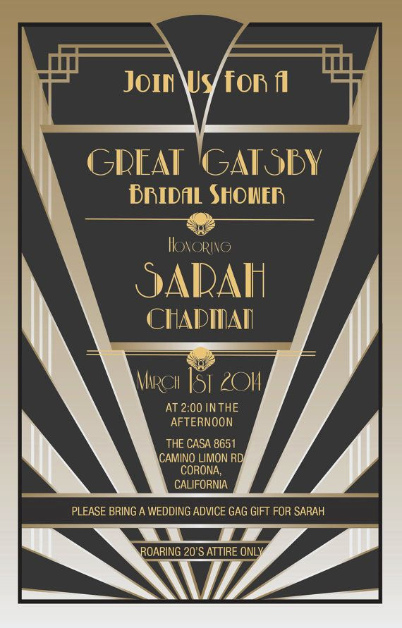 Great Gatsby Invitation Wording Luxury Great Gatsby Invitations Gatsby Style