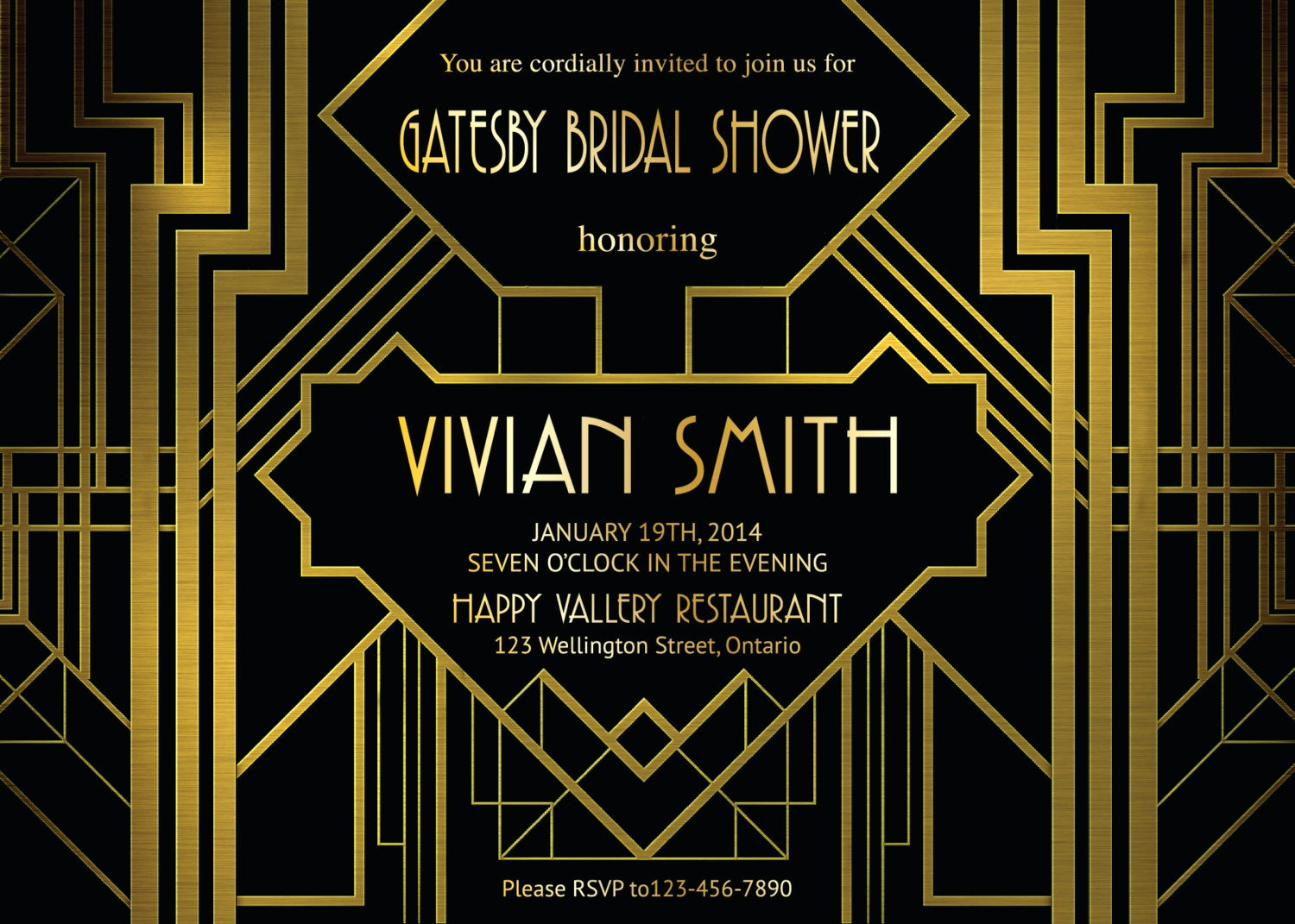 Great Gatsby Party Invitation Templates Awesome Great Gatsby Bridal Shower Invitation Art Deco Customized