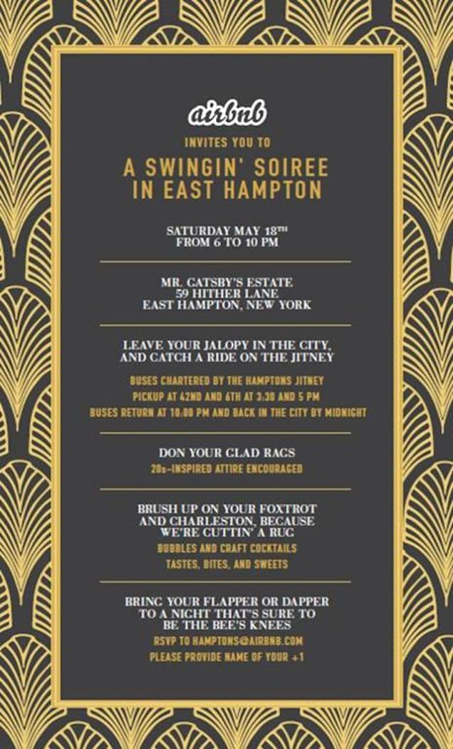 Great Gatsby Party Invitation Templates Beautiful Airbnb is Busing Reporters to the Hamptons for A Great