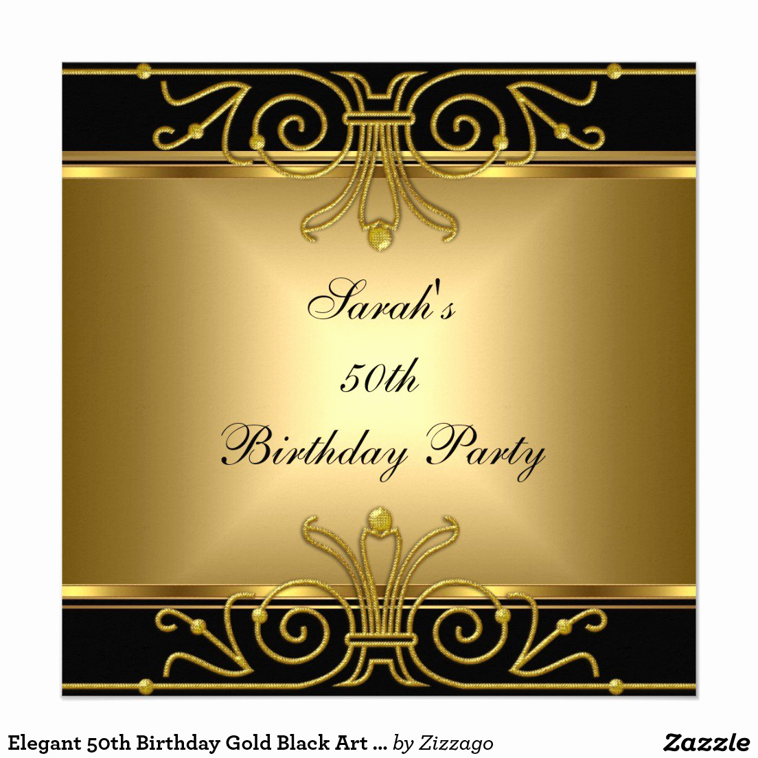 Great Gatsby Party Invitation Templates Elegant Black and Gold 50th Birthday Invitations