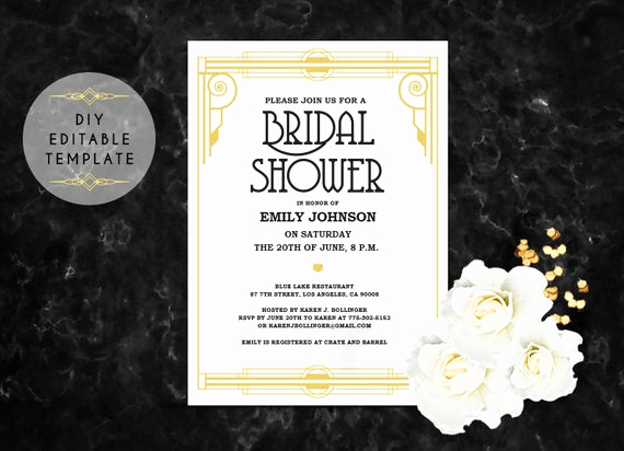 Great Gatsby Party Invitation Templates Elegant Bridal Shower Invitation Template Diy Great Gatsby Bridal