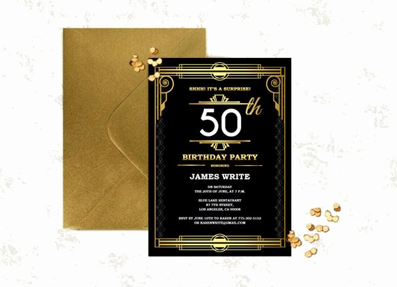 Great Gatsby Party Invitation Templates Elegant Great Gatsby Birthday Invitation Template Art by Partygraphix