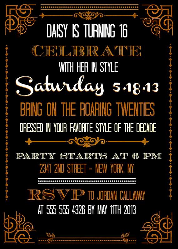 Great Gatsby Party Invitation Templates Fresh Custom Printable Great Gatsby Inspired Invitations