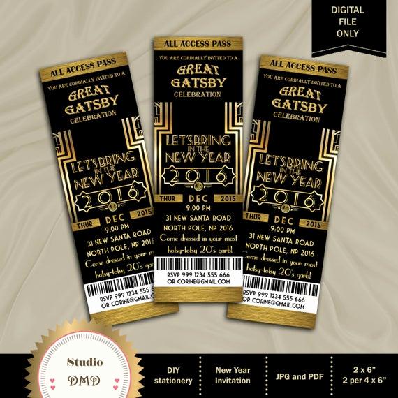 Great Gatsby Party Invitation Templates Fresh Great Gatsby Invitation New Year Invitation New Year S