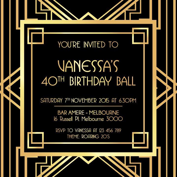 Great Gatsby Party Invitation Templates Inspirational Great Gatsby Invitation Black and Gold