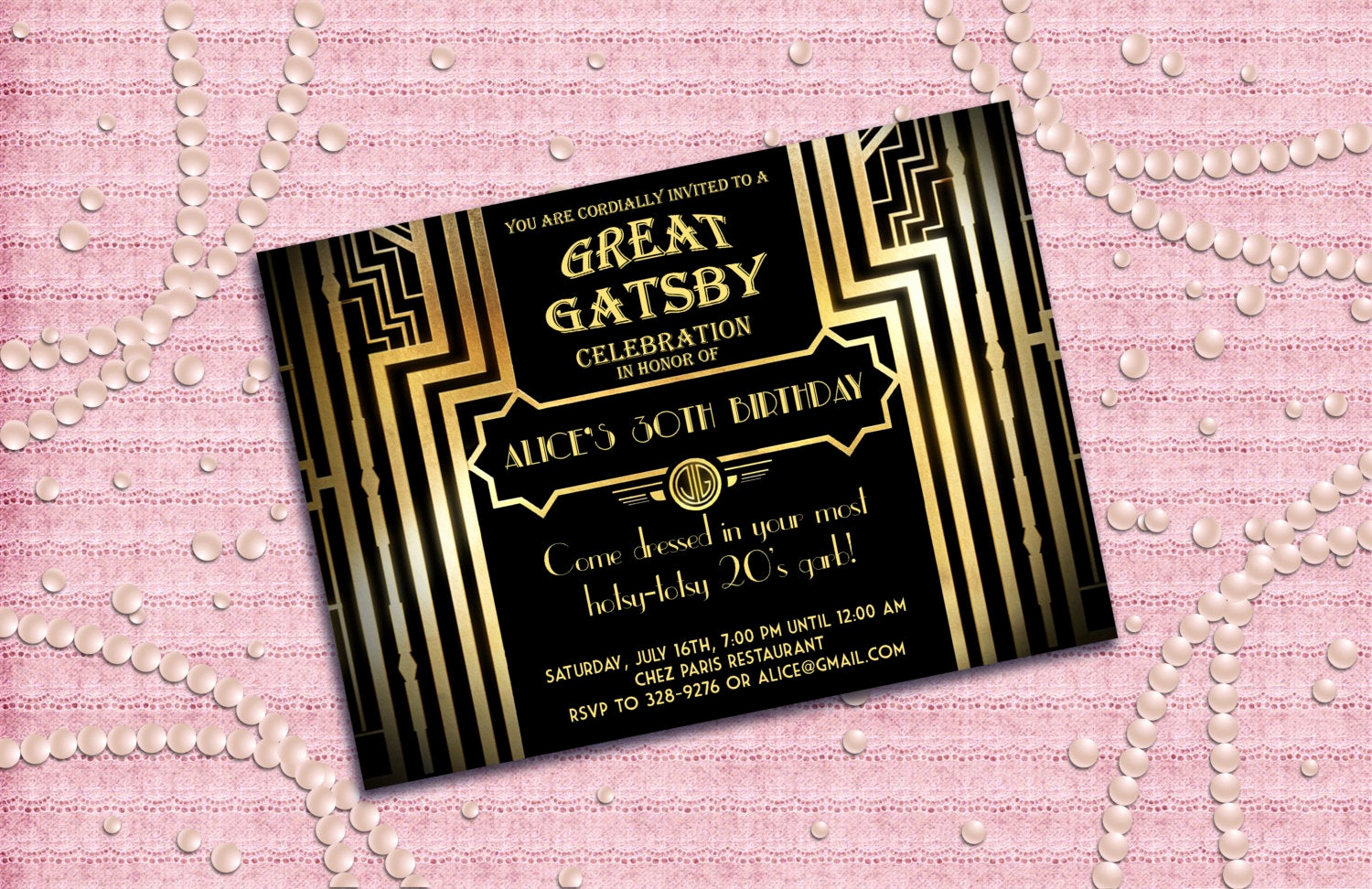 Great Gatsby Party Invitation Templates Inspirational Great Gatsby Style Art Deco Birthday Party Invitation by