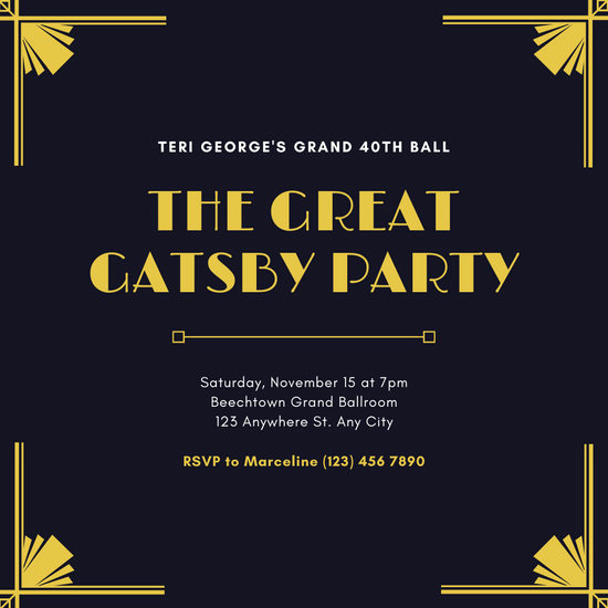 Great Gatsby Party Invitation Templates New Customize 52 Great Gatsby Invitation Templates Online Canva