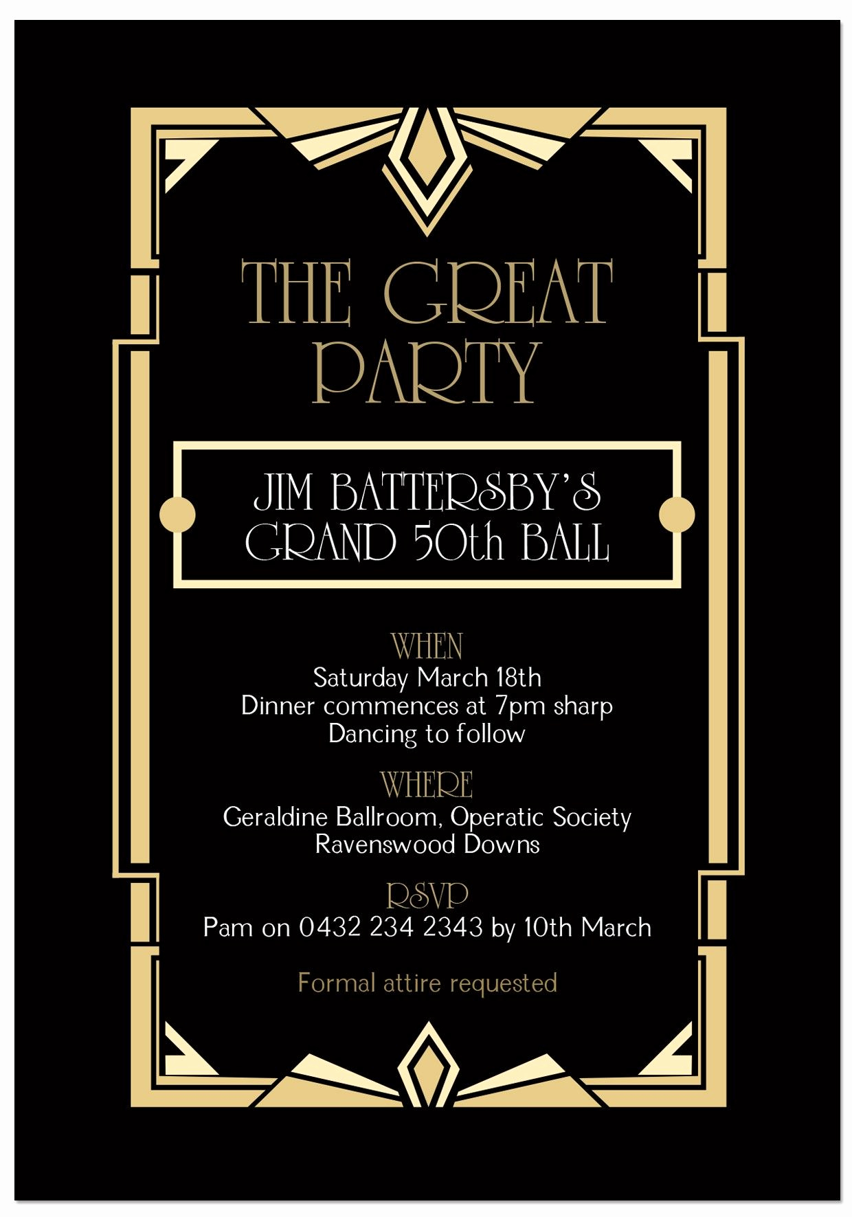 Great Gatsby Party Invitation Templates New Gatsby Ball Birthday Invitations