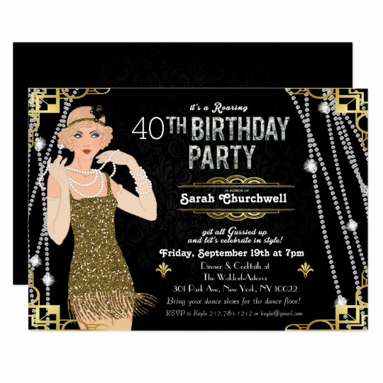 Great Gatsby Party Invitation Templates Unique Great Gatsby Flapper Girl Birthday Invitation