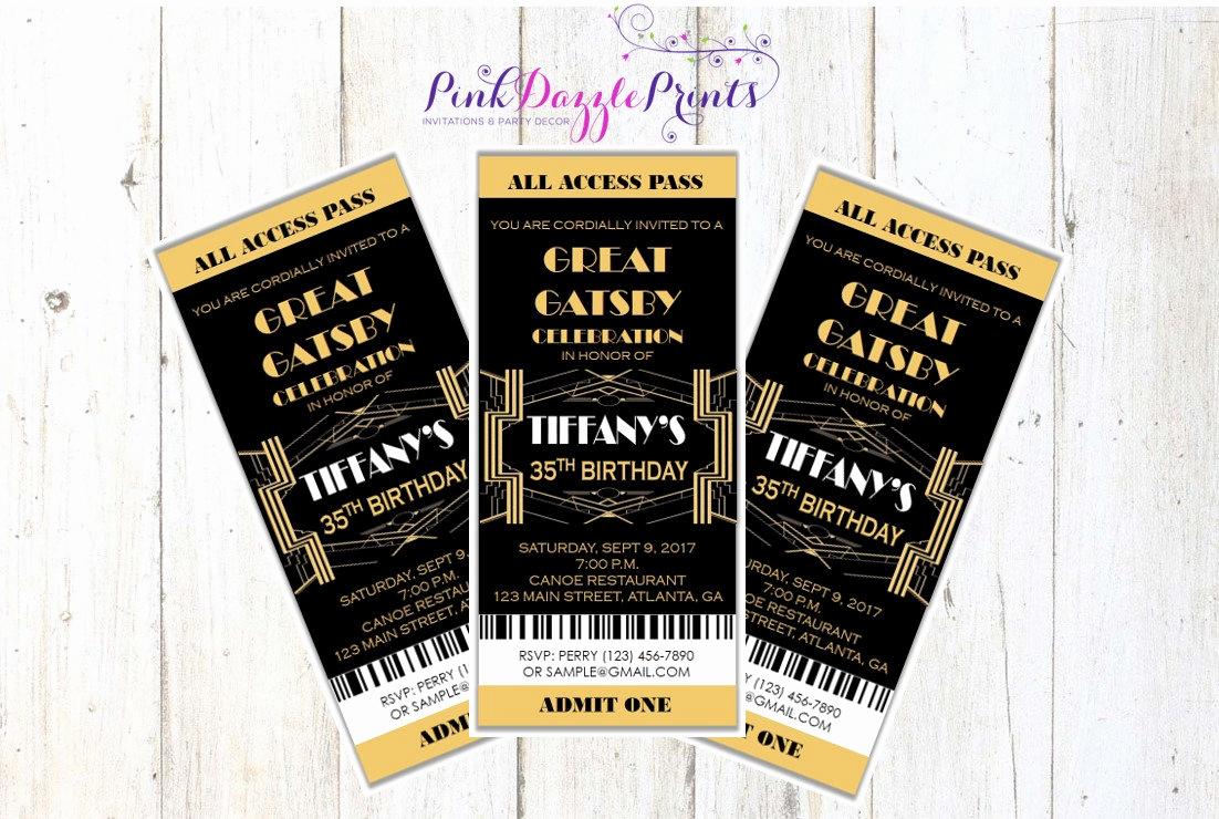Great Gatsby Prom Invitation Beautiful Great Gatsby Invitation Prom Ticket Party Invitation Any
