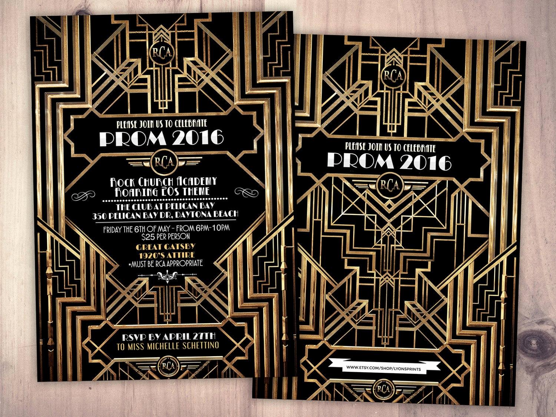 Great Gatsby Prom Invitation Elegant Great Gatsby Prom Invitation Roaring 20 S Hollywood Film