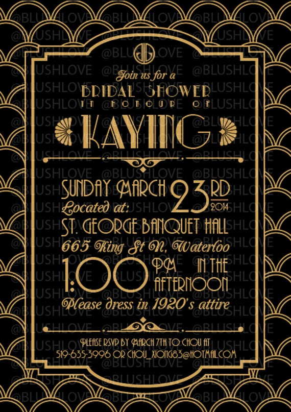 Great Gatsby Prom Invitation Elegant Items Similar to Great Gatsby Bridal Shower Invitation