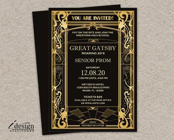 Great Gatsby Prom Invitation Fresh Great Gatsby Prom Invitation Diy Printable Vintage Art Deco