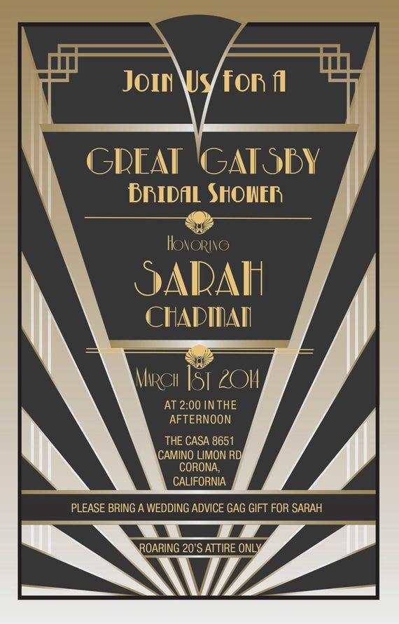 Great Gatsby Prom Invitation Fresh Items Similar to Great Gatsby Invitations