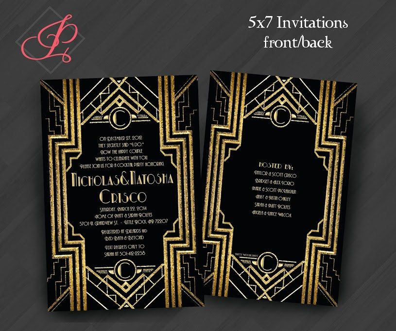 Great Gatsby Prom Invitation Lovely Birthday Invitations Gatsby Roaring 20s Gold White