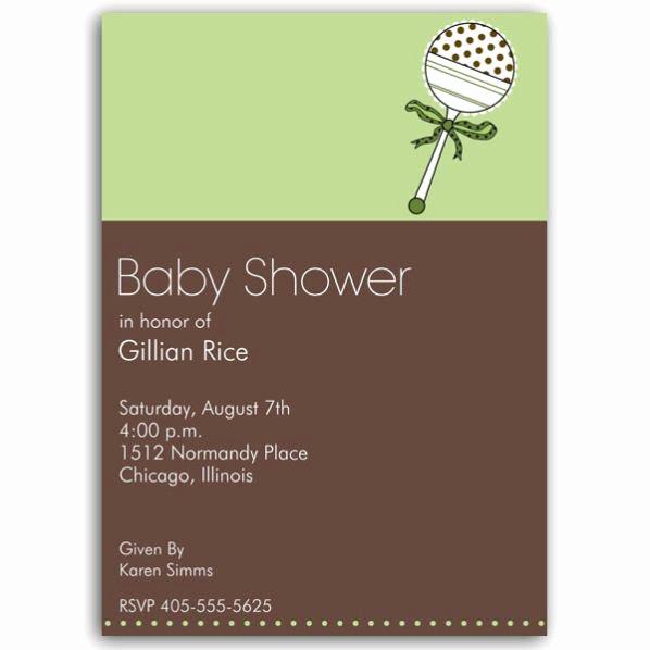 Greenback Shower Invitation Wording Elegant Baby Rattle Green Shower Invitations