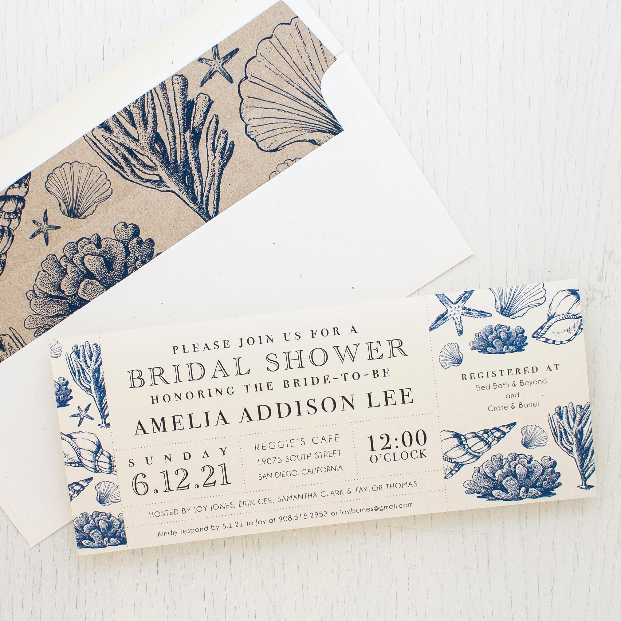 Greenback Shower Invitation Wording Elegant Beach Blues Bridal Shower Invitations