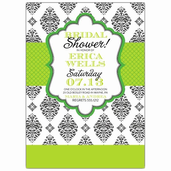 Greenback Shower Invitation Wording Fresh Green Brocade Bridal Shower Invitations