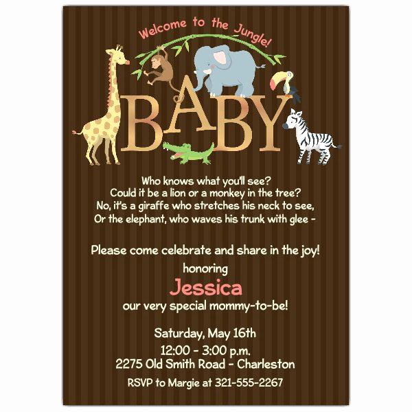 Greenback Shower Invitation Wording Luxury Baby Jungle Shower Invitations