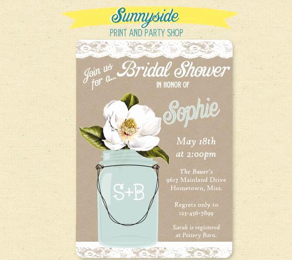Greenback Shower Invitation Wording Luxury southern Magnolia Bridal Shower Invite Printable Party
