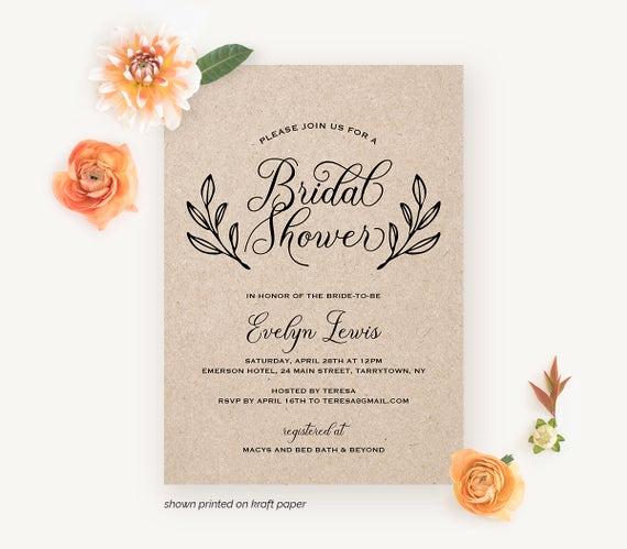 Greenback Shower Invitation Wording New Bridal Shower Invitation Printable Wedding Shower Invite