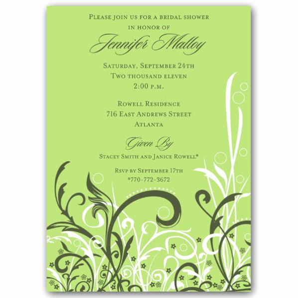 Greenback Shower Invitation Wording New Cabiri Green Bridal Shower Invitations