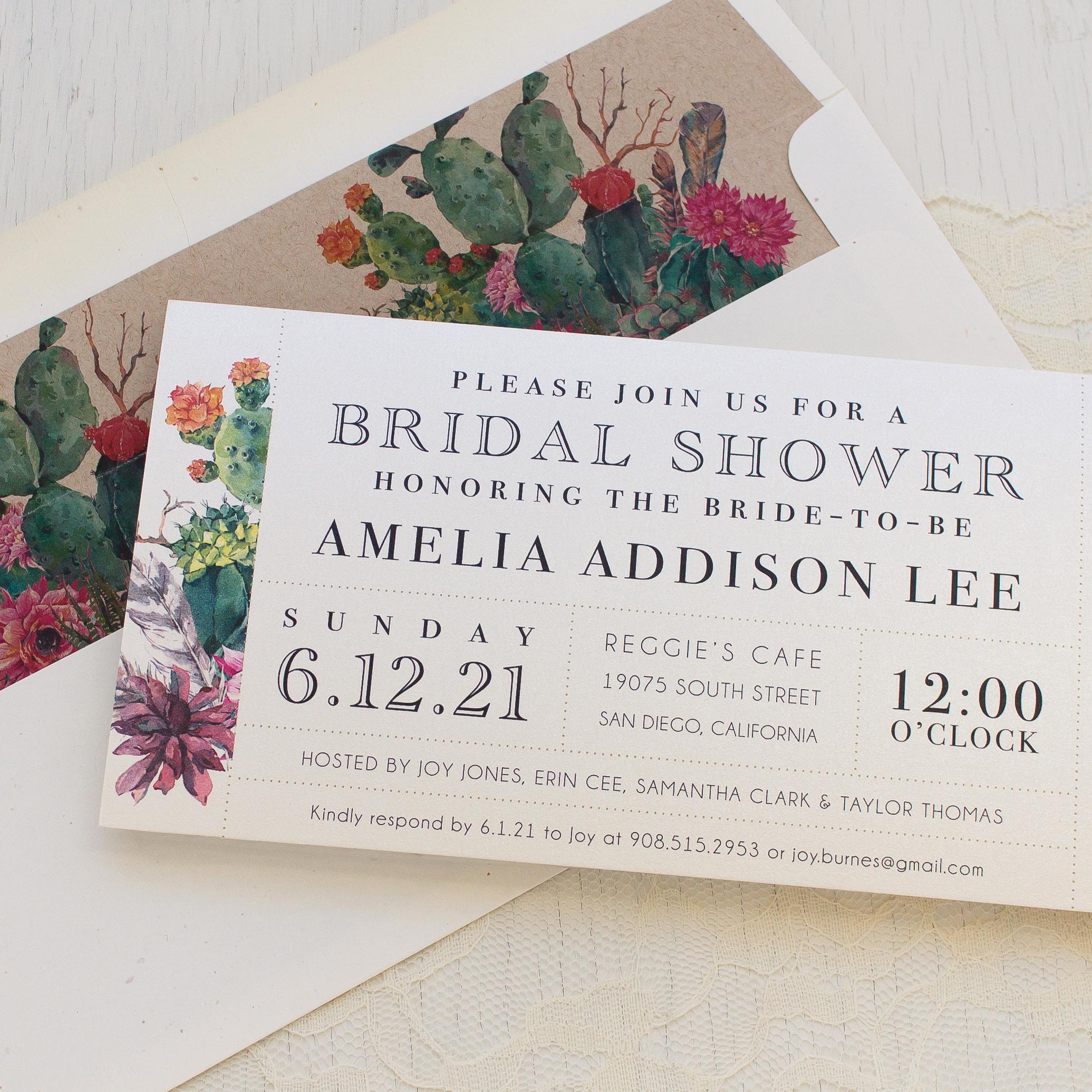 Greenback Shower Invitation Wording New Desert Blooms Bridal Shower Invitations