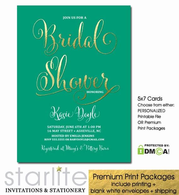Greenback Shower Invitation Wording Unique Emerald Green and Gold Bridal Shower Invitation Printable