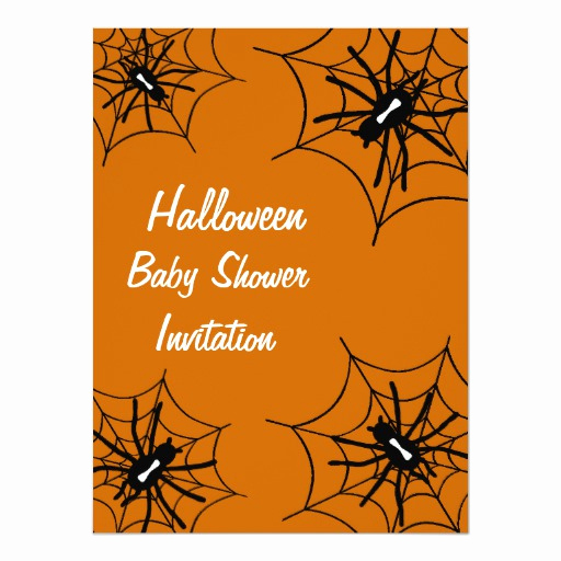 Halloween Baby Shower Invitation Awesome Halloween Baby Shower Spider Invitations orange