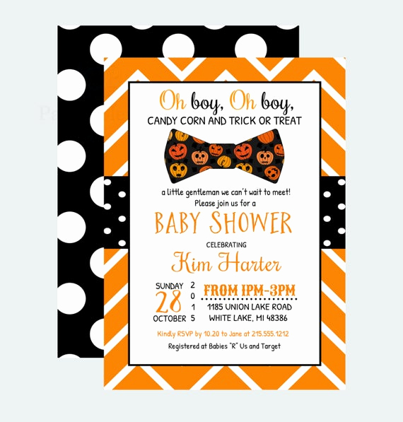 Halloween Baby Shower Invitation Beautiful Halloween Baby Shower Invitation Boys Bow Tie by