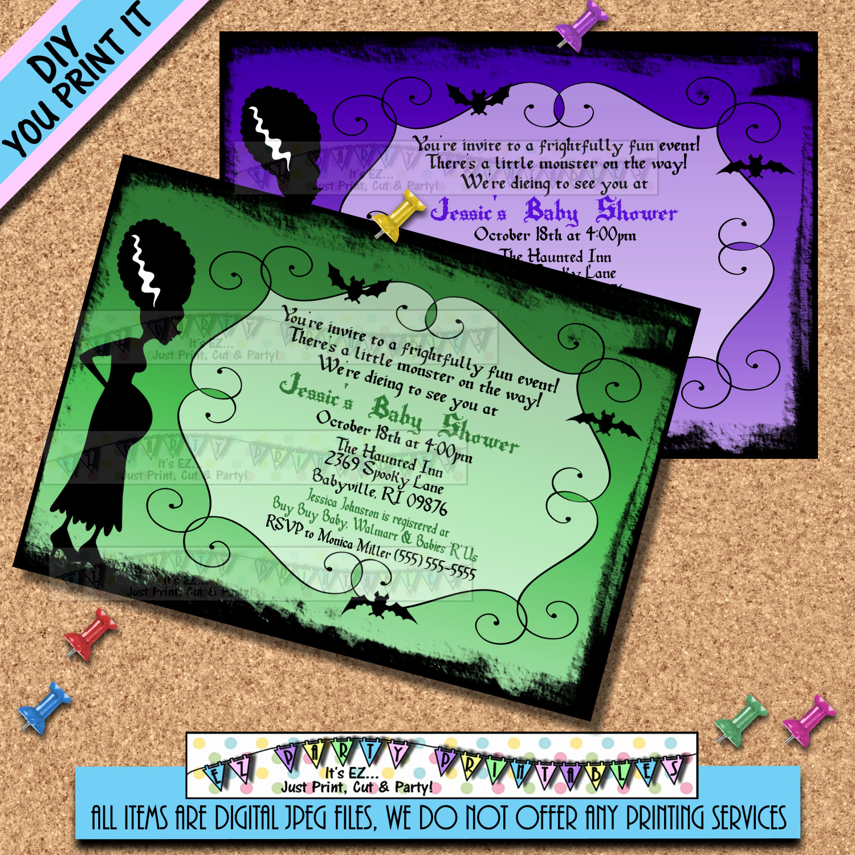 Halloween Baby Shower Invitation Best Of Halloween Baby Shower Invitations Bride Of Frankenstine