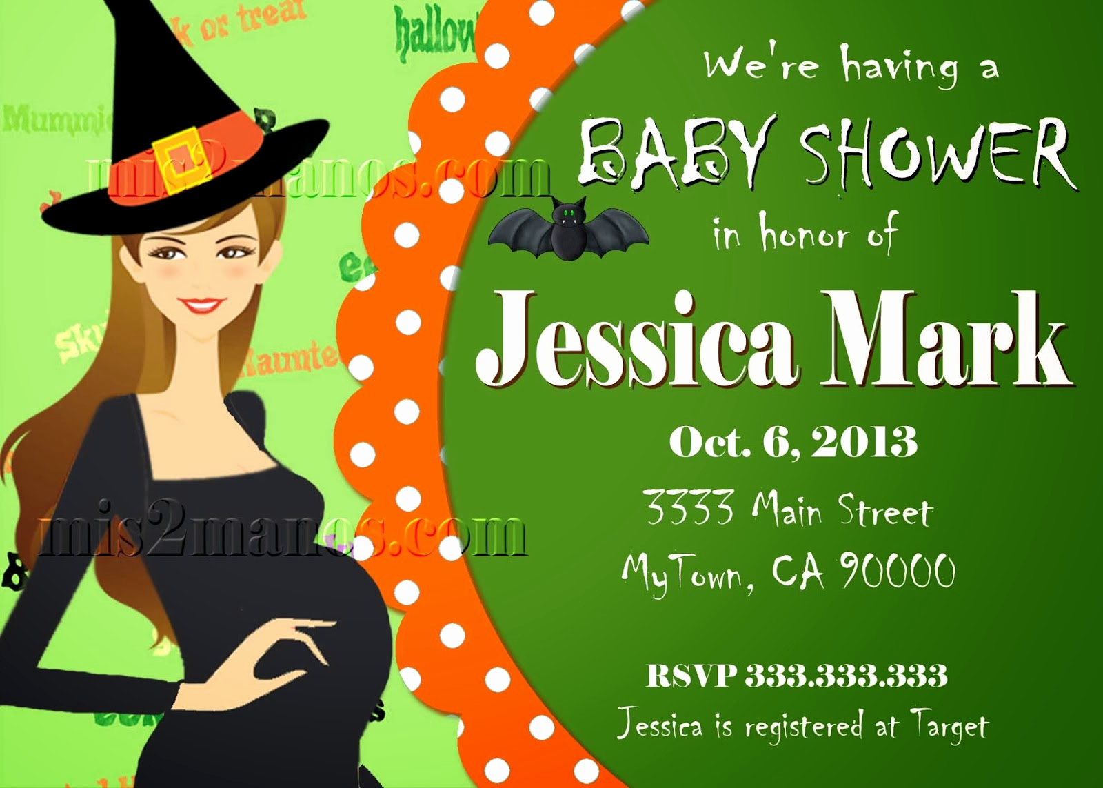 Halloween Baby Shower Invitation Best Of Mis 2 Manos Made by My Hands Halloween Baby Shower
