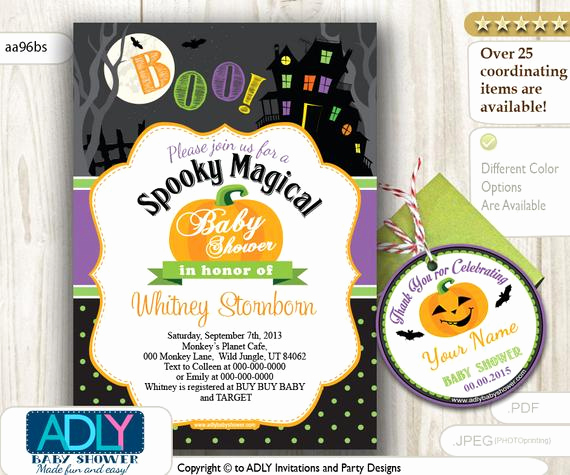 Halloween Baby Shower Invitation Elegant Halloween Baby Shower Invitation Purple Lime Green orange