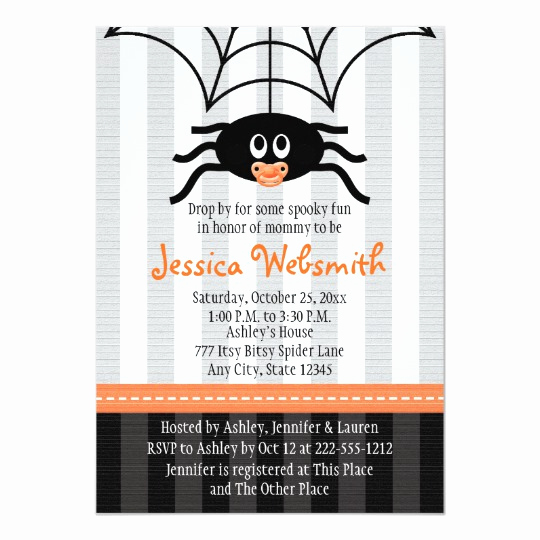 Halloween Baby Shower Invitation Lovely Spider Halloween Baby Shower Invitations