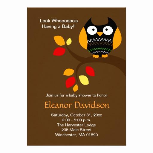 Halloween Baby Shower Invitation Luxury Halloween Owl 5x7 Baby Shower Invitation 2 Sided