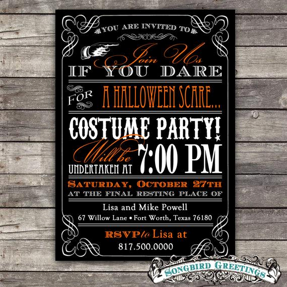 Halloween Costume Party Invitation Awesome Items Similar to Diy Vintage Halloween Party Invitation